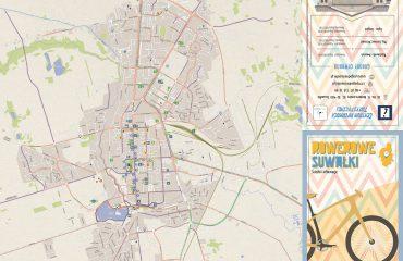 Rowerowa mapa Suwałk 1 strona wersja mała